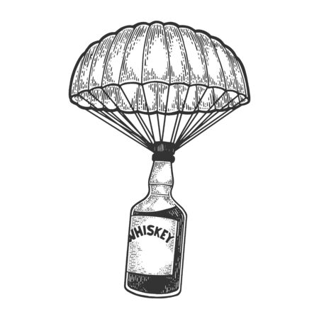Ilustración de Whiskey alcohol bottle with ice and glasses walks on its feet sketch engraving vector illustration. Scratch board style imitation. Black and white hand drawn image. - Imagen libre de derechos