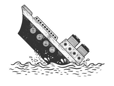 Illustration pour Sinking steamboat ship sketch engraving vector illustration. T-shirt apparel print design. Scratch board style imitation. Hand drawn image. - image libre de droit