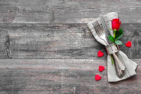 Photo pour Valentines day table place setting. Holidays background - image libre de droit