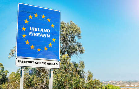 Photo for Hard border from Northern Ireland to Ireland concept post-Brexit with passport checks - Royalty Free Image