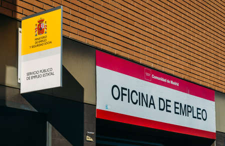 Spanish government employment office sign and facade in Madrid, Spain