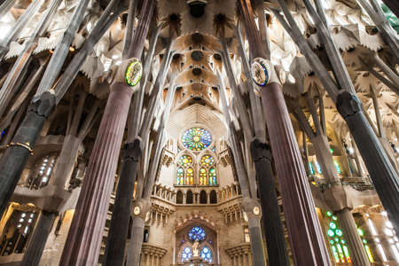 Inside view of this architecture masterpiece, La Sagrada Familia that means The Holy Family by Antoni Gaudi.