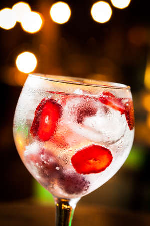 Cold Gin Tonic ready to drink.