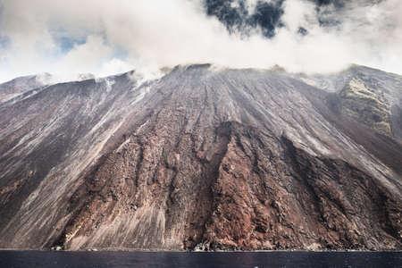 Sciara del fuoco in Stromboli  volcano island, Sicily, Italy.