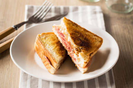 Typical toasted sandwich with cheese and pork ham.