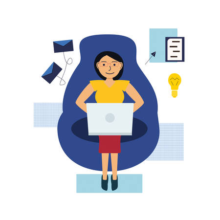 Photo pour Girl works online with a laptop, sitting on an armchair. The concept of work in the distance. Vector illustration - image libre de droit