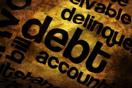Debt text on paper grunge concept