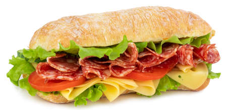 Photo pour Ciabatta sandwich with lettuce, tomatoes prosciutto and cheese isolated on white - image libre de droit