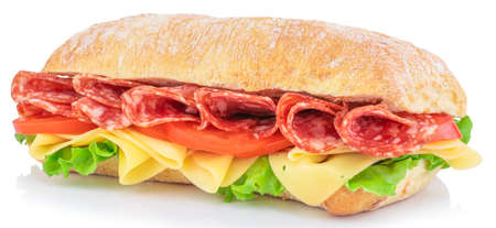 Photo pour Ciabatta sandwich with lettuce, tomatoes prosciutto and cheese isolated on white background. - image libre de droit