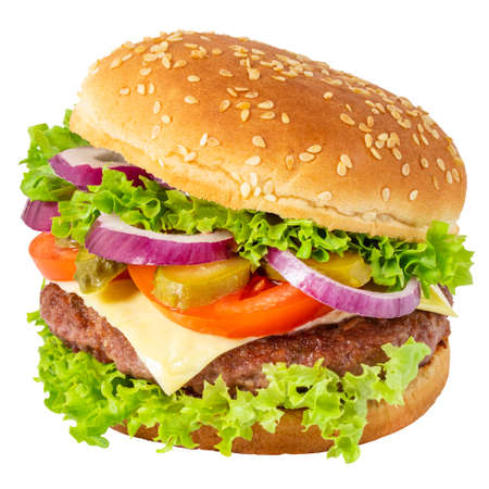 Photo pour Fresh tasty burger isolated on white - image libre de droit