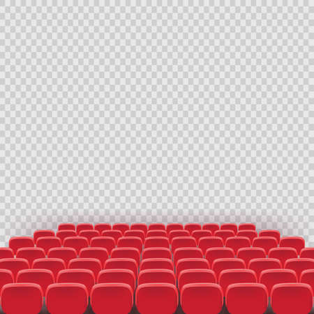 Illustration pour Vector theatre red seat chair in conference auditorium room. Row cinema red seat illustration on transparent white background. Movie or theater seats - image libre de droit