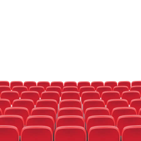 Illustration for Vector theatre red seat chair in conference auditorium room. Row cinema red seat illustration on transparent white background. Movie or theater seats - Royalty Free Image