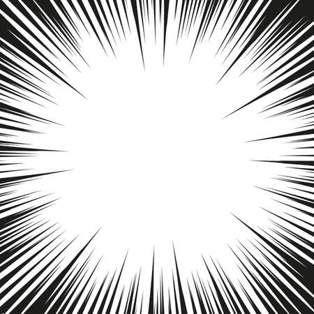 Illustration pour Graphic Explosion with Speed Lines. Comic Book Design Element. Retro comic style background with sun rays. Vector - image libre de droit