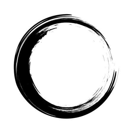 Illustration pour vector brush strokes circles of paint on white background. Ink hand drawn paint brush circle . - image libre de droit