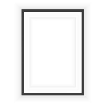 Illustration pour Realistic black frame isolated on grey background. Perfect for your presentations. Vector illustration. - image libre de droit