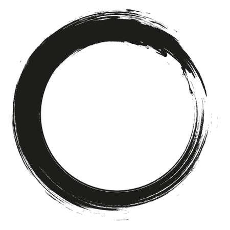 Illustration pour Grunge hand drawn black paintbrush circle. Curved brush stroke vector illustration - image libre de droit