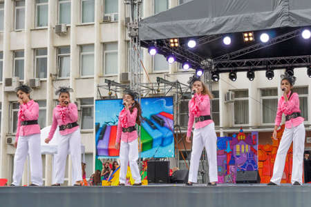 Pyatigorsk, Russia - June 1, 2014  Children s Day  On stage singing a children s musical group  free concert