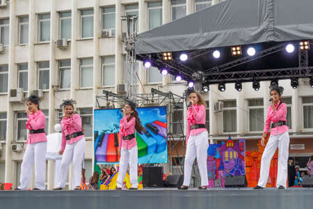 Pyatigorsk, Russia - June 1, 2014  Children s Day  Children s musical group on stage at the City Administration Building  free concert