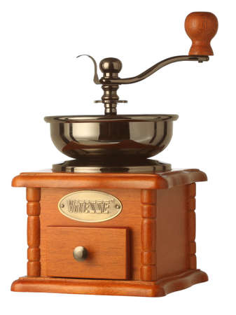 Pyatigorsk, Russia - February 11, 2018: VITESSE manual coffee grinder in brown wooden body is isolated on a white background