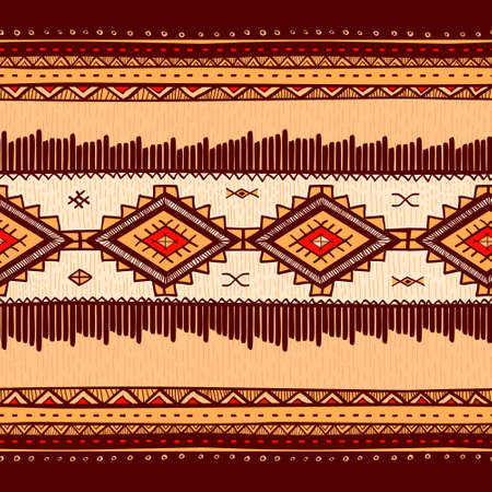 Seamless abstract hand-drawn ethno pattern tribal background. Seamless pattern can be used