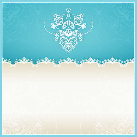 Blue wedding invitation design template with doves, hearts, flowers and geometrical lace ornament  Wedding card with text area  Design template for printing and web