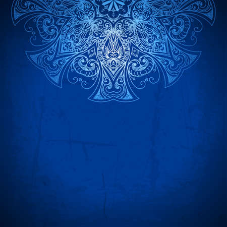 Blue Background Vintage Pattern Hand Drawn Abstract