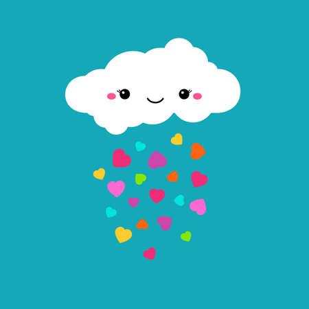 Illustration pour Abstract cute cartoon vector rainy cloud. Raindrops of colorful hearts. Funny illustration. Kids decorative background. Cute cloud design for children. Blue sky and rainbow color hearts decoration - image libre de droit