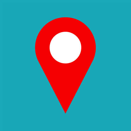 Illustration pour Vector map pin icon. Map pin icon symbol for address. Flat map pin icon for website, print, business card design. Simple shape. Vector pointer for gps navigation, apps. Marker for map. Vector web icon - image libre de droit