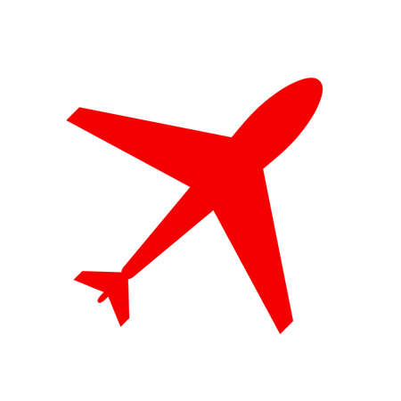 Illustration for Web icon of airplane, plane. Airport icon, red airplane shape isolated on white. Flat airplane. Travel icon, shape, label, symbol. Graphic element vector. Vector design element for logo, web and print - Royalty Free Image