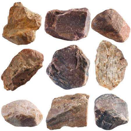 Photo pour Set of stones isolated on white background. Natural minerals mined in Russia. - image libre de droit