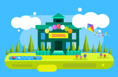 Illustration pour Back to school background. Cute vector cartoon school building illustration. School uniform, garden nature, outdoor and university building, preschool and education, small kids, teens, students. Welcome to school background. - image libre de droit