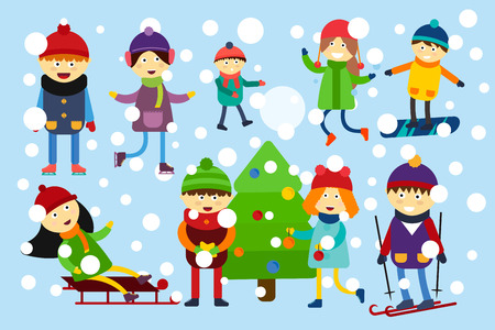 Winter holidays background. Christmas kids playing winter games. Skating, skiing, sledding, girl dresses up Christmas tree, boy makes a snow man, children playing snowballs. Cartoon New Year kids vector collection