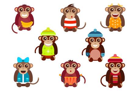 Christmas Dancing Cartoon.Happy Cartoon Vector Christmas Monkey Toys Dancing Party