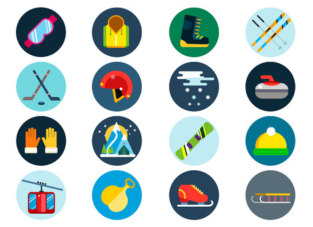 Winter sport vector icons set. Winter sport games icons pictograms. Winter sports icons flat design. Winter games sport icons isolated. Ski, sport, extreme sports, winter games, sport icons, snowboarding, winter clothes