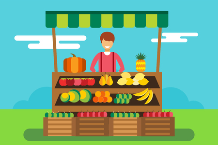 Fruit and vegetables shop stall. Shop man silhouette, buyers, clients. Woman, girl family in fruits shop. Food shop vector illustration. Banana, apple, orange, lime, pumpkin fruits. Fruit kiosk vector