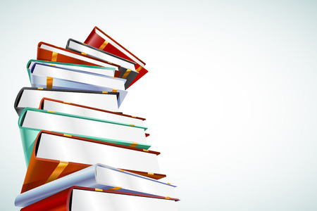 Illustration pour Book 3d vector illustration isolated on white. Back to school. Education, university, college symbol or knowledge, books stack, publish, books page paper. Books stack. Books isolated. Books vector - image libre de droit