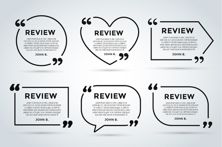 Ilustración de Website review quote citate blank template. Website review vector icon. Quote comment template. Quote bubble. Shop customer review template. Circle review template, paper sheet, information, text. Customers review design. Quote form. Web site comment vect - Imagen libre de derechos