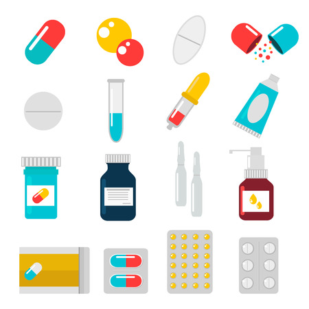 Pills capsules icons vector flat set. Medical vitamin pharmacy vector pills illustration. Pills, capsule, drugs, box and bottle. Pills vector bottle box. Pills isolated icons