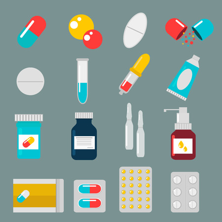 Pills capsules icons vector flat set. Medical vitamin pharmacy vector pills illustration. Pills, capsule, drugs, box and bottle. Pills vector bottle box. Pills isolated icons