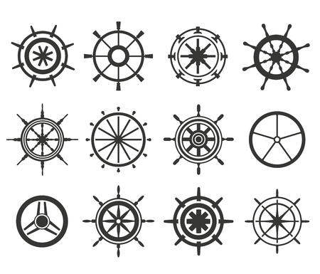 Vector rudder black and white flat icons set. Rudder wheel illustration. Boat wheel control rudder vector icons set. Rudders, ships, se, wheel, round, control, yacht, cruise. Rudder icon. Wheel icons. Rudder and wheel isolated