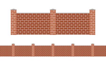 Stone bricks fence isolated on white background. Garden stone fences vector illustration. Fences railing vector isolated. Stone bricks fence, long fence, vector fence. Stone fence silhouette construction isolated
