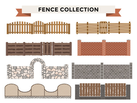 Different Designs Of Fences And Gates Isolated On A White Background