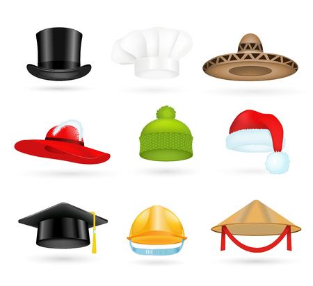 Set of 3d top hats different professions. Cartoon top hats. Baseball ... 28c393699546