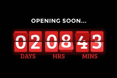 Countdown clock digits board panels timer. Website timer counter. Sale opening soon. New year, Christmas timer sale. mechanical timer. Black Friday timer. website timer banner