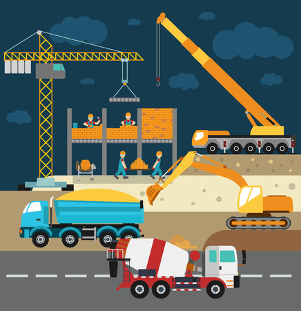Building under construction, workers and construction technics vector illustration. Building mixer truck, crane vector. Under construction vector concept. Workers in helmet, construction machine isolated