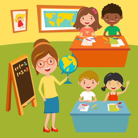 Kids school or baby club lessons. Geographic teacher at classroom. Children sitting on desk. Kids school vector illustration. Boys and Girls vector cartoon illustration