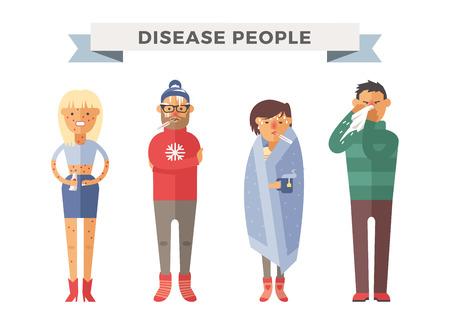 People ill vector illustration. Seasonal virus attack. People illness, people sick. People cold illustration. People unwell need medical help. Virus, health, fever people silhouette. People unwell