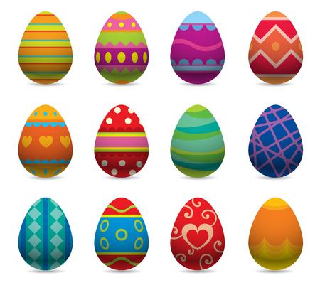 Ilustración de Easter eggs vector flat syle icons isolated on white background. Easter eggs icons vector. Easter eggs isolated, Easter holidays flat design sign. Easter, eggs, holidays greeting. Vector easter eggs set - Imagen libre de derechos