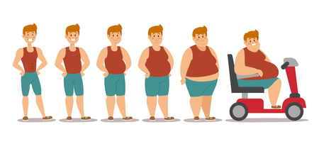 Fat man cartoon style different stages vector illustration. Fat problems. Health problems. Fast food, strong sport and fat people. Obesity process people illustration