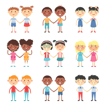 Illustration pour Vector cute cartoon twins brothers and sisters. Twin kids isolated. Small twin kids, children twin couples. Kids posing. Twin children vector people isolated. Twin kids holding hands - image libre de droit